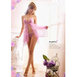 女人味藕紫色蕾絲魅力性感睡衣丁字褲-F