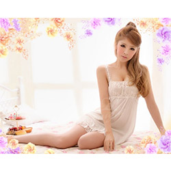 浪漫夢幻純潔白薄紗蕾絲睡衣-F