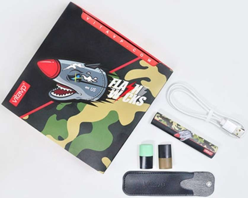 【vitavp唯它】有如真煙的口感 蒸氣式充電電子煙 - 迷彩套裝(送2顆菸彈+皮套)