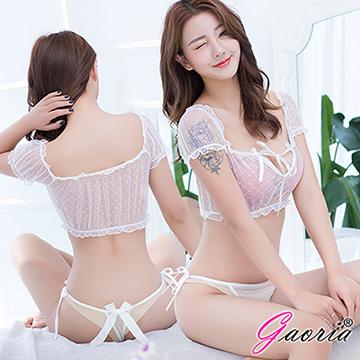 【Gaoria】 唯美精靈 一字肩泡泡袖兩截式薄紗睡衣 白